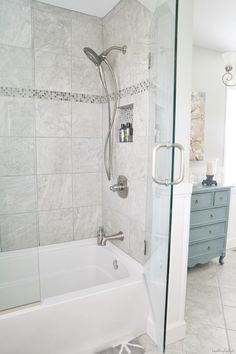 Robin's Bathroom Makeover Reveal {Part Two} - Beneath My Heart tub and shower with glass doors, exactly what I've been wanting!