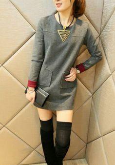 Fashoin Enchating Dizzying Grey Woolen round neck Long Sleeve Patchwork FASHION DRESSES