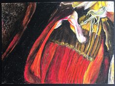 """""""Kelful""""/""""Banana Flower"""" - observational oil pastel  http://dietitianwithoutborders.com/banana-flower-eating-the-exotic/"""