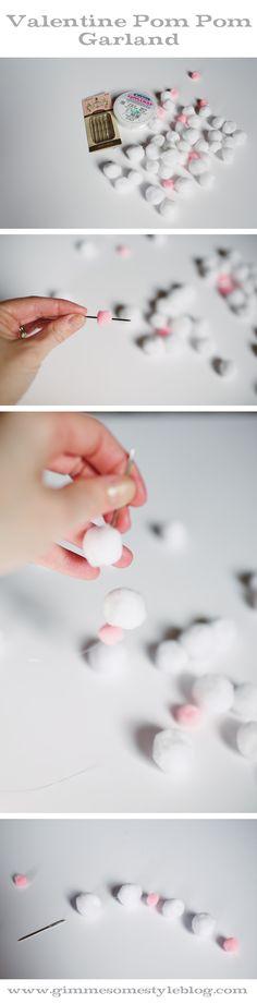 Easy Valentine Pom Pom Garland | www.gimmesomestyleblog.com #valentine #garland #diy