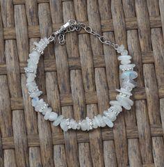 Moonstone Bracelet ~ Iridescent Chip Stones ~ Natural Irregular Stones ~ Healing ~ Wedding Wear ~ Prom ~ Graduation Gift ~ Anniversary by AudacityWear on Etsy