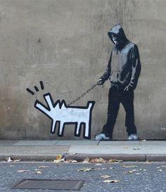 Banksy y perro de K. Haring
