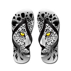 5d8b2d6f30b2 Gueskie White Leopard with Yellow Eyes flip flops Adults MBlue   Find out  more about the