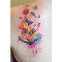 A unique watercolor bookish tattoo #literarytattoos http://writersrelief.com/