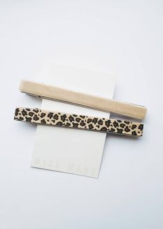 "TAUPE VELVET + LEOPARD GROSGRAIN RIBBON CLIP  These clips look super chic! Perfect for everyday wear or for dress up. They are a must have.  Each clip is 4"" long and have teeth for secure comfortable grip.  Lead Free Clips. Leopard Hair, Velvet Hair, Grosgrain Ribbon, Lead Free, Free Design, Hair Clips, Teeth, Taupe, Hair Accessories"