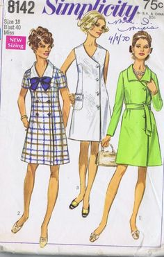 VINTAGE SEWING PATTERN 60s COAT DRESS SIMPLICITY 8142 SIZE 12 BUST 34 HIP 36 CUT