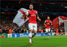 Olivier Giroud celebrates his sixth goal this season after doubling Arsenal's lead