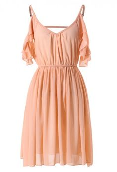 Off Shoulder Chiffon Dress, I think I would choose a different color though :) perhaps turquoise or deep purple ♥