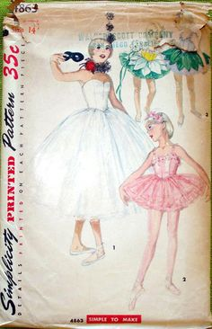 1950s Girl's Ballet Costume Hat & Ruff Pattern Simplicity 4863 Vintage Sewing Pattern Size 12 Breast 30 inches