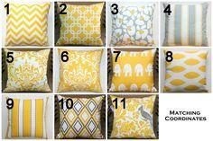 SUMMER SALE- Premier Prints Yellow Pillow Cover- 14x14 inches- Hidden Zipper Closure- You Choose. $13.95, via Etsy.
