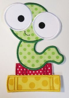 Iron On Applique  Mr. Book Worm by BigBlackDogDesigns on Etsy