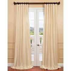 Exclusive Fabrics Winter Ivory Yarn Dyed Faux Dupioni Silk Curtain | Overstock.com Shopping - The Best Deals on Curtains