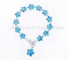 Hawaiian jewelry opal plumerial 925 sterling silver bracelet