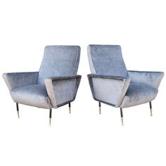 Pair of Italian Mid-Century Grey Velvet Armchairs | From a unique collection of antique and modern lounge chairs at https://www.1stdibs.com/furniture/seating/lounge-chairs/