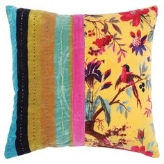 Toss this  colorful cotton pillow on your sofa or bed for a splash of color and exotic flair.   Product: PillowConst...