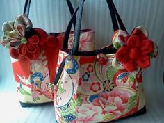 Japanese vintage kimono world : Vintage kimono bags for West End people