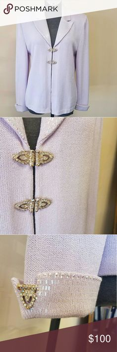 St. John Knits Lilac Evening Blazer! St John Knits Evening Gorgeous Lilac Santana Knit Blazer with exquisite clasps and Paillette detailing!! Blazer does have 2 TINY spots, closeups and far away shown in photos. Spots are very light, hardly noticable. St. John Jackets & Coats Blazers