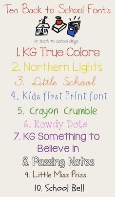 Back to School Fonts from Scrap Stacks  ~~ {10 free fonts & 1 dingbat/font with links}