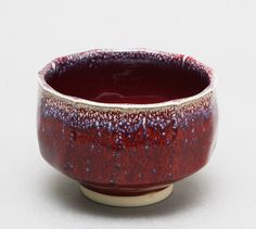 Wheelthrown Porcelain Tea Bowl / Chawan with Red and by hsinchuen