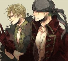 Tags: Anime, Bandana, Cigarette, Smoking, ONE PIECE, Sanji, Roronoa Zoro