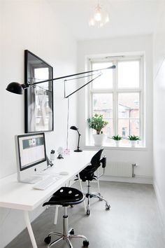 black and white workspace