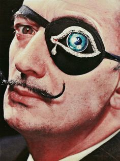 Philippe Halsman ~ Salvador Dalí with his own creation of diamond-encrusted eye-patch, 1947