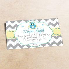 Owl diaper raffle diaper raffle baby shower от LittlePartyPaper