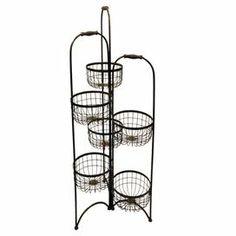 "Folding metal storage rack with 6 open wirework baskets.   Product: Storage rackConstruction Material: MetalColor: BlackFeatures: Six open wirework basketsDimensions: 49.2"" H x 17"" W x 17"" D"