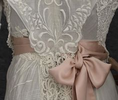 Hand-Embroidered Tea Dress Trimmed with Irish Crochet, c. 1910 (View 3, Back Detail)