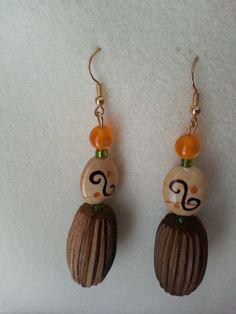 Fun Orange and Brown Wood Earrings by sweetmelissasshop on Etsy, $7.00