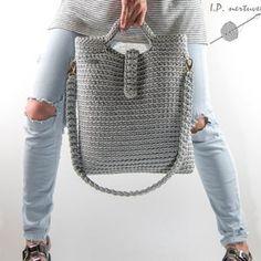 Bucket tote bag Handmade crochet handbag | Etsy Crochet Tote, Crochet Handbags, Crochet Fish, Grey Tote Bags, Crochet Shoulder Bags, Smart Casual Outfit, Tote Bags Handmade, Estilo Boho, Knitted Bags