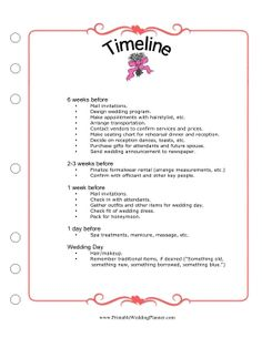 So much to do and so little time.  Make sure nothing falls through the cracks schedule-wise with the Wedding Planner Timeline checklist. Free to download and print