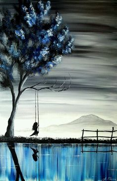 The girl on the swing II - Original acrylic vertical landscape painting...