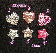 Cabochons cuore/stella per creazioni di bigiotteria fai da te.