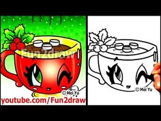 How to Draw Christmas Drinks - Hot Chocolate with Holly + Marshmallows - Fun2draw Art