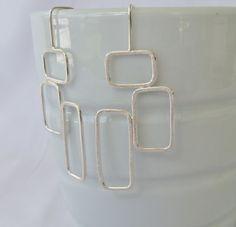 Geometric sterling silver dangle earrings