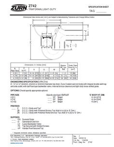 Zurn Light-Duty Top Drain w/ Integral Double Wall Trap, Si – MasterBuilder Mercantile Inc. Technical Documentation, Floor Drains, Pipe Sizes, Polished Nickel, Cast Iron, Wall, Top, Walls, Crop Shirt