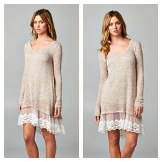ON SALE!Taupe Dress with Lace • Last One!!• Brand New longsleeved beautiful knit dress with a gorgeous lace hemline. So pretty and feminine! Lightweight, a dress you can wear anytime of year! Also features Hi-Lo hemline...Brand NewNo TradesPrice Firm unless bundled LDB Dresses