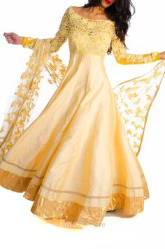 Wheat Gold Anarkali with Embroidery