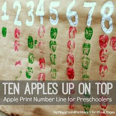 Apple Print Number Line Ten Apples Up On Top Apple Number Line for preschool Preschool Apple Theme, Fall Preschool Activities, Apple Activities, Preschool Books, Preschool Lessons, Preschool Learning, Montessori Math, Learning Tools, Sensory Activities