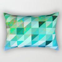 Vintage Blue & Green  Rectangular Pillow