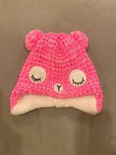 cde428f79c8 Target PINK Bear HAT 2T Fleece Lined Pom Pom Warm Girls Toddler EUC   fashion