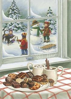 Vintage card  with sweet treats waiting inside - this one would be great for a puzzle as well (if it can be found large enough) - desserts, hot cocoa chocolate, playing in the snow, building a snowman, pets dogs, children kids, winter