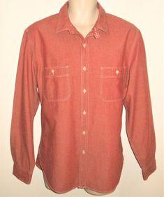 457a629baf0 J CREW Chambray Denim Work Shirt Mens L Tab Collar Red Large  JCREW   ChambrayShirt