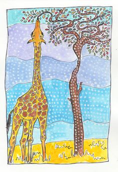 Giraffe illustration for a child's bedroom or perfect as a gift. Print and frame at home or order the original print. Kids Rooms, Kids Bedroom, Giraffe Illustration, Ink Illustrations, Watercolor And Ink, Nurseries, Beautiful Creatures, Savannah Chat, Art For Kids
