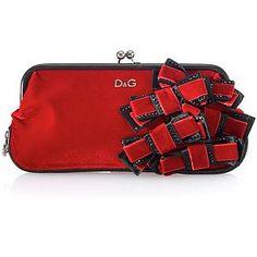 D Velvet Gilda Clutch w/Grosgrain and velvet Bow Detail Evening Handbag
