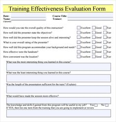 Training Evaluation Form #training #evaluation #form | Sample ...