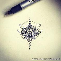 LOTUS FLOWER. Tattoo design and idea, geometric, illustration, zentangle, Doodle, handmade:
