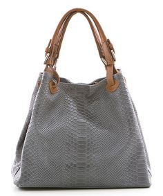 Another great find on #zulily! Gray Belt Strap Snakeskin-Embossed Leather Hobo #zulilyfinds