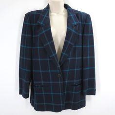 30.74$  Watch now - http://viqqk.justgood.pw/vig/item.php?t=ol42sn35176 - Vintage Miss Pendleton 12 Blazer Blue Green Windowpane Plaid Wool Career Jacket